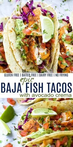 Epic Baja Fish Tacos with Homemade Fish Taco Sauce! - - These Baja Fish Tacos loaded with cilantro lime slaw, zesty Avocado Crema and fresh Pico de Gallo! The perfect healthy dinner recipe everyone in your family will love! Fish Recipes, Seafood Recipes, Mexican Food Recipes, New Recipes, Cooking Recipes, Chicken Recipes, Healthy Chicken, Dessert Recipes, Healthy Tilapia Recipes