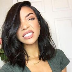 This is a Colodo Short Wavy Bob Brazilian 134 Lace Front Human Hair Wigs . - September 01 2019 at Short Wavy Bob, Short Dark Hair, Wavy Bobs, Long Curly Hair, Curly Hair Styles, Natural Hair Styles, Thick Hair, Short Bobs, Smooth Hair