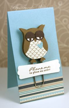 Stampin Up: Owl Builder Punch paperclip. Great marketing / promo gift for customer! Could also attach to business card / | http://lovelypetcollections.blogspot.com