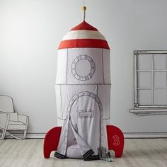 Ideal for a bedroom, playroom or basement, our Rocket Ship Kids Playhouse Canopy will provide hours of fun. Shop kids play houses, canopies and tents. Indoor Playhouse, Build A Playhouse, Space Themed Nursery, Nursery Themes, Teepee Play Tent, Teepees, Tents, Tent Canopy, Casa Kids