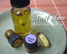 DIY nail treatment oil -- 4 ingred., Lemon & Lavender Essenial Oil, Olive Oil & Vitamin E Oil.