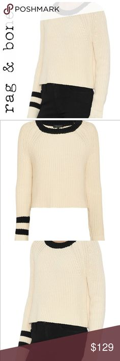 "💕SALE💕Rag & Bone Chucky Ivory & Black Sweater Gorgeous 💕Rag & Bone Chucky Ivory & Black Sweater 21"" from the top of the shoulder to the bottom 19"" from armpit to armpit Perfect Warm Sweater for Fall  Winter rag & bone Sweaters"