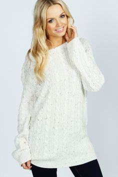 Cable Tunic Sweater at boohoo.com