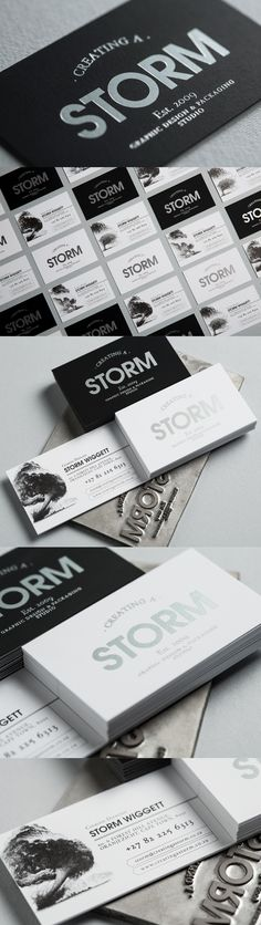 Creating a Storm Business Cards with Silver Foiling and beautifully etched storm imagery. Graphic Design Studios, Logo Design, Corporate Stationary, Business Card Logo, Packaging Design, Identity, Branding, Silver, Brand Management