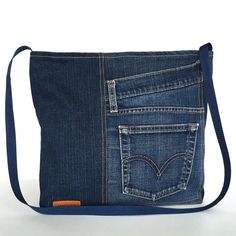 Cross body purse recycled blue jean messenger bag  recycled