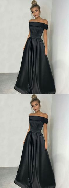 Simple black long prom dress, black evening dress – trendty