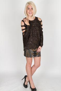 Sequinned sweater, $89, art deco mini, $95.