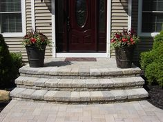 Wooden Front Steps Design Ideas Front Step Ideas Wooden Front Steps Design Ideas Door Best Throughout Idea Front Step Ideas Concrete Wooden Front Door Step Design Ideas Concrete Front Steps, Brick Steps, Concrete Stairs, Wood Steps, Concrete Blocks, Front Porch Steps, Front Stoop, Front Walkway, Front Entry