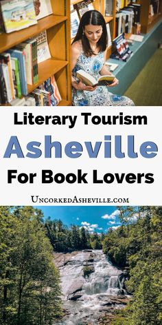 Asheville is perfect for book lovers, filled with a rich literary heritage. Find The Hunger Games waterfalls, champagne bookstore, and the Biltmore library. Weekend Vacations, Best Vacations, Asheville Nc, Asheville Hiking, Dupont State Forest, Thomas Wolfe, North Carolina Vacations, Literary Travel, Book Bar