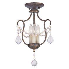 Livex Chesterfield 6420-71 3-Light Convertible Chain Hang / Ceiling Mount in Venetian... | www.hayneedle.com