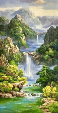 trendy ideas for painting canvas simple abstract art Chinese Landscape Painting, Fantasy Landscape, Oil Painting Abstract, Landscape Art, Landscape Paintings, Painting Canvas, Artist Painting, Waterfall Paintings, Nature Wallpaper