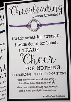 Set of 12 CHEERLEADER Wish Bracelets Great for Gifts, Team Spirit, Coach Gifts, Birthday Favors Can also be used as Friendship Bracelets An antique silver Cheer Affirmation Charm is tied on both sides and attached to the card. Bracelet ties on and is adjustable - Just knot and cut cord
