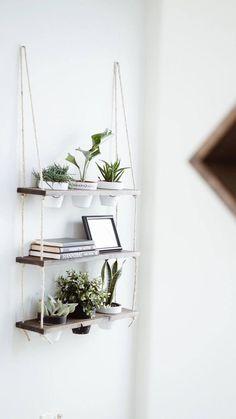 *over small bookshelf in fam room TriBeCa Trio Pot Shelf / Hanging Shelves / Planter Shelves / Diy Hanging Shelves, Plant Shelves, Dorm Shelves, Small Bookshelf, Floating Shelves, Decoration Plante, Iron Wall, Plant Decor, Plant Wall