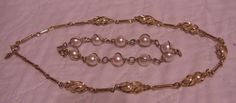 """VINTAGE SARAH COVENTRY """"TWIRLING PEARLS"""" NECKLACE & """"PEARL SWIRL"""" BRACELET #SarahCoventry"""