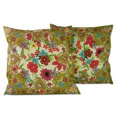 Set of 2 Embellished 'Floral Paradise' Cushion Covers (India)