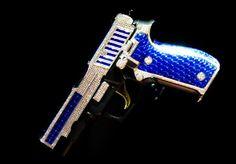 Ladies' pistol in eye-poppin' blue.