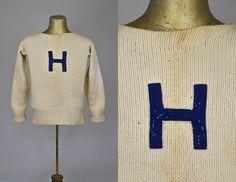 1930s Hamilton University Sweater New York Liberal Arts School Distressed Wool…