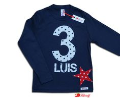 Langarmshirts - Geburtstagsshirt, Zahlenshirt, Zahl, Stern, Sterne - ein Designerstück von mein-suessstoff bei DaWanda