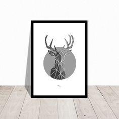 Ohh dearest deer. Christmas poster. Also available in black. Design Mai-Britt Parylewicz.