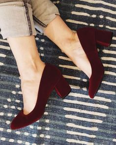 The Preston Heel sold out in so many sizes we had to re-order it ASAP! Good news! All sizes are are back in stock in both burgundy velvet… Pretty Shoes, Beautiful Shoes, Cute Shoes, Sock Shoes, Me Too Shoes, Shoe Boots, Shoes Sandals, Heeled Sandals, Preston