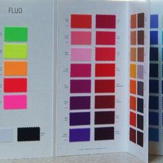 Carvico Shiny Tricot - Folding Swatch Book - All Colors   Solid Stone Fabrics - We are pleased to announce FREE USA/Domestic shipping on all of our Color Cards & Swatches! #solidstonefabrics #fabric #swatches #fashion #cheer #dance #recital #DIY #crafts #fabricswatches #fabricsamples #freeshipping #carvico