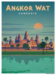 Image of Angkor Wat Poster - Travel poster Deco Bobo, Angkor Vat, Virgin Islands National Park, Angkor Wat Cambodia, London Poster, Beach Posters, National Park Posters, Poster Art, Illustration