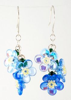 Handcrafted Forget Me Not Beaded Earrings by beadorigami on Etsy