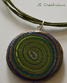 """""""Swirl with me"""" - polymer clay pendant"""