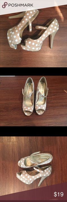 Madden Girl polka dot pumps Nude peep-toe pumps with white polka dots. These look great with jeans or a dress! In great condition - only worn twice. Shoes Heels