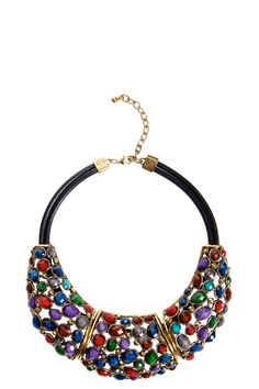Grace Multi Jewelled Structured Necklace www.boohoo.com