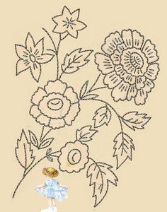 Several scans of antique embroidery transfers (French).