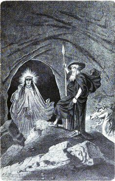 Illustrations by Carl Emil Doepler 'The Elder' from Nordisch-Germanische Götter und Helden: Odin and the Völva, 1882