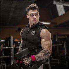 Male Bodybuilding Hoodies Fitness Clothes Hoody Cotton Hoodie Men Sweatshirts Mens Sleeveless Tank Tops Casual Vest - Men Tank - Ideas of Men Tank Mens Sweatshirts, Hoodies, Gym Tank Tops, Men's Tanks, Sleeveless Hoodie, Muscular, Workout Pictures, Gym Men, Sexy Men