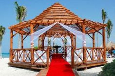 Another view of the beach wedding gazebo area located in the northern part of Riviera Maya.  Close to the Cancun Airport perfect for guests staying four nights or less.  Ask us where!  Call us @ 657-22Weddings