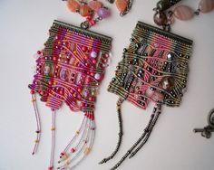 Unique micro macrame necklace pendant Pink by MartaJewelry