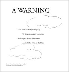 """Cute children's poem about a windy day. Great for classroom reading lessons for kindergarten, and grade, common core, and for ESL lessons. Excerpt from the poetry collection, """"Suzie Bitner Was Afraid of the Drain"""" by Barbara Vance. Esl Lessons, Reading Lessons, Kids Poems, Classroom Projects, Poetry Collection, Windy Day, Cute Kids, Kindergarten, Core"""