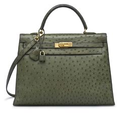 A vert foret ostrich sellier kelly 35 bag #hermes