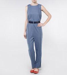 Macacao cinto couro Azul- The Outlet | Moda e Roupas Femininas