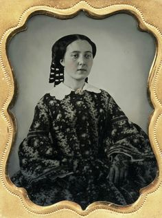 9th plate ambrotype tinted cheeks and brooch, lace gloves, wide collar, lovely hair ribbons