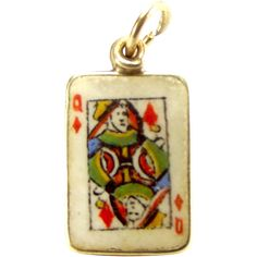 Vintage 9ct Gold Enamel QUEEN Of DIAMONDS Playing Card Charm 1951..