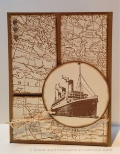 Card using the Stampin' Up! sets World Map and Traveler by Emily Mark SU demo Longueuil, Quebec. www.southshorestamping.com