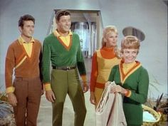 Major Don West, Professor John Robinson, daughter Judy Robinson and wife Dr. Maureen Robinson share a laugh on Lost in Space.