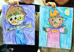 Scarecrow Directed Drawing - First Grade Blue Skies