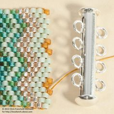 Attach a Slide Clasp to a Peyote Stitch Cuff Bracelet: Position the Thread for the First End Loop