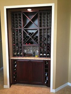 Kitchen Cabinet With Wine Rack And Shelves On The Sides