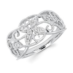 Boston Bay Diamonds 14k Gold 1/8ct TDW Diamond Ivy Ring with Millgrain Detaill