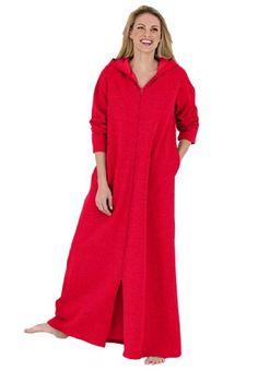 Jessica London Plus Size Petite long hoodie robe, in fleece Dreams & Co