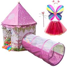 Princess Castle Play Tent Crawl Tunnel Complete Fairy Costume Accessories PINK  #PrincessCastle #CrawlTunnel #PlayTent #FairyCostume #Pink #kids #Girls