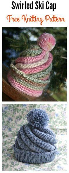 Swirled Ski Cap with Pom Pom Free Knitting Pattern – Your Crochet Mittens Pattern, Knit Mittens, Knitted Blankets, Knitted Hats, Crochet Hats, Loom Knitting Patterns, Free Sewing, Knitting Patterns Free, Free Knitting