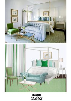 A cheery spring bedroom by Melanie Turner recreated for $2662 by @audreycdyer for Copy Cat Chic